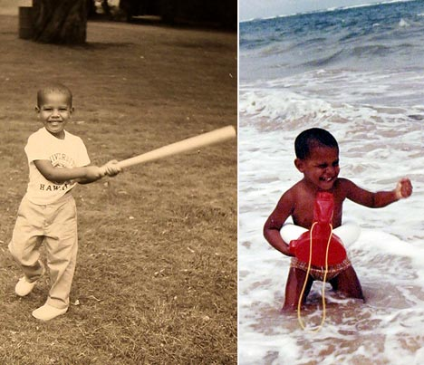 Playing and swimming Photos Barack Obama