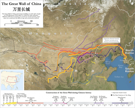 great wall of china map 530x425 Great China wall Pictures