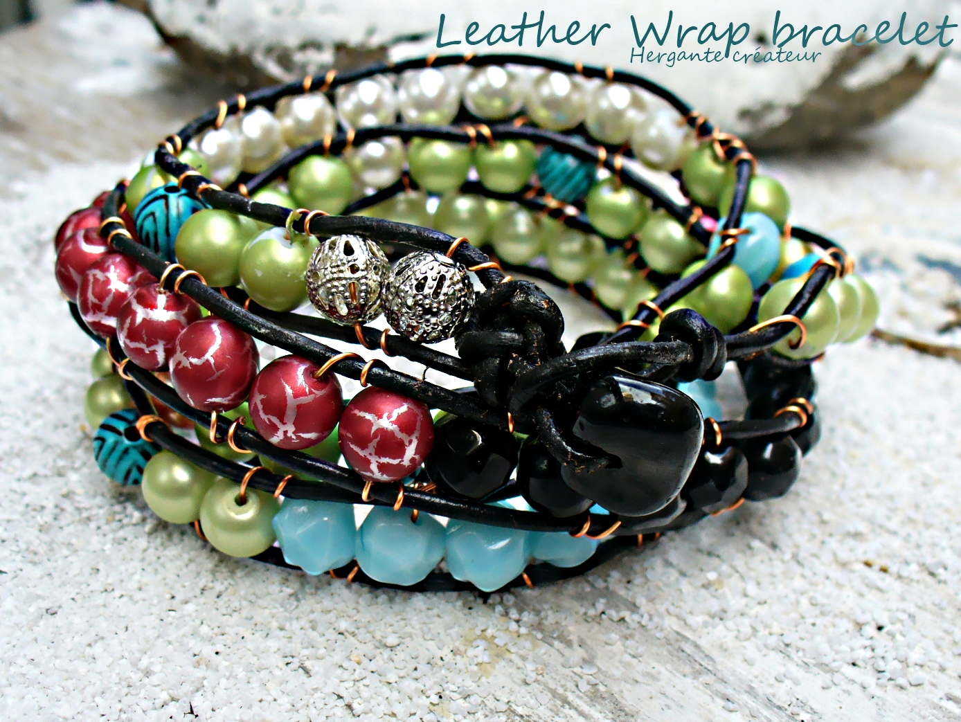 leather wrap bracelet hergante createur Girls Bracelet