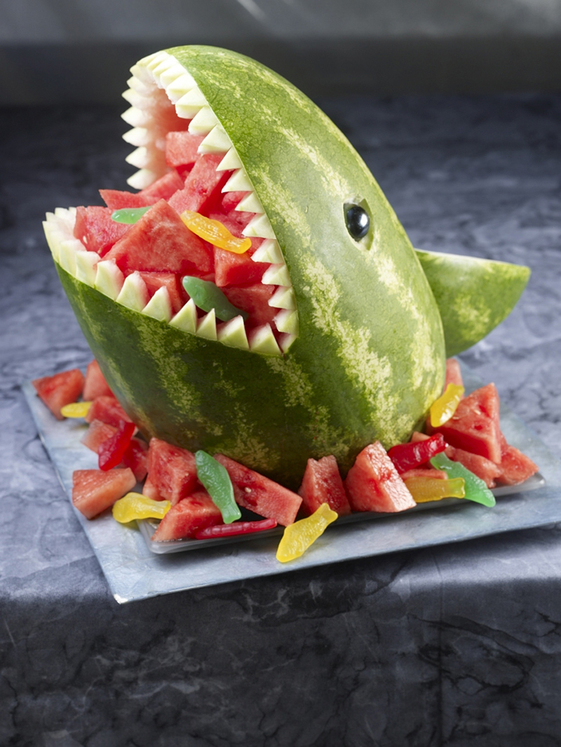 Carve A Watermelon Designs 04 Shark Carving Watermelon 